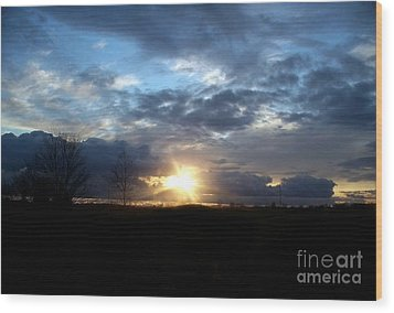 Cloudy Sunset Wood Print by Emily Kelley
