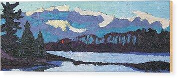 Cloudy Sunset Wood Print by Phil Chadwick