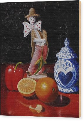 Wood Print featuring the painting Clown Around Fruit by Gene Gregory
