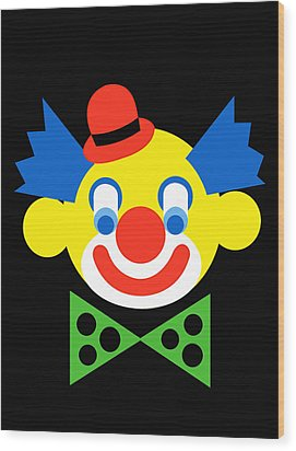 Clown Wood Print by Asbjorn Lonvig