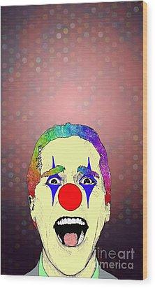 Wood Print featuring the drawing clown Christian Bale by Jason Tricktop Matthews