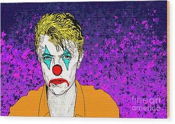 Wood Print featuring the drawing Clown David Bowie by Jason Tricktop Matthews