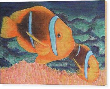 Clown Fish #310 Wood Print by Donald k Hall