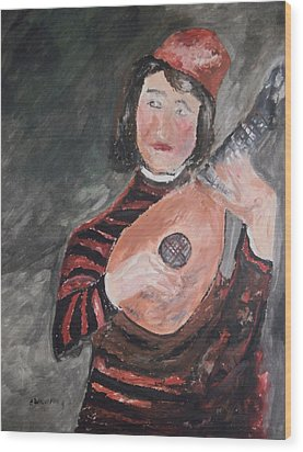 Clown Playing The Lute Wood Print by Edward Wolverton