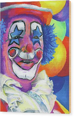 Clown With Balloons Wood Print by Stephen Anderson