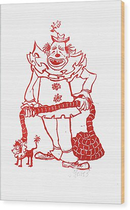 Clown With Dog Wood Print by Barry Nelles Art