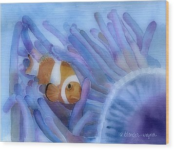 Clownfish And The Sea Anemone Wood Print by Arline Wagner