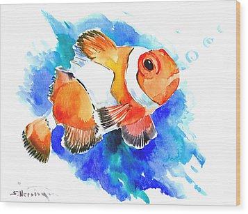 Clownfish Wood Print by Suren Nersisyan