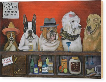 Wood Print featuring the painting Club K9 by Leah Saulnier The Painting Maniac