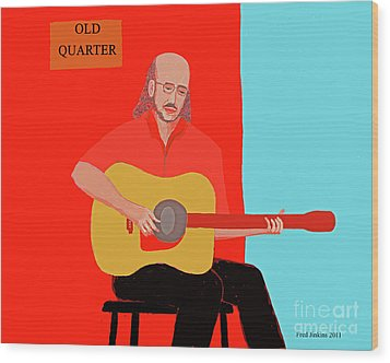 Club Musician Wood Print by Fred Jinkins