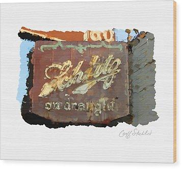 Club Tap Sign Wood Print by Geoff Strehlow