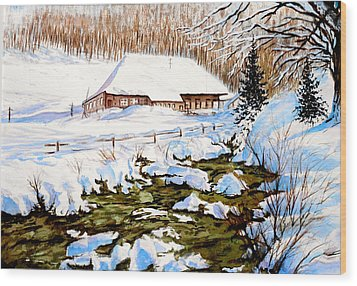 Clubhouse In Winter Wood Print