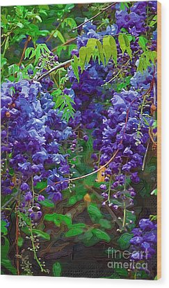 Wood Print featuring the photograph Clusters Of Wisteria by Donna Bentley