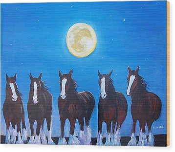 Clydesdales In Moonlight Wood Print by Aleta Parks