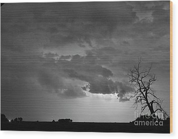 Co Cloud To Cloud Lightning Thunderstorm 27 Bw Wood Print by James BO  Insogna