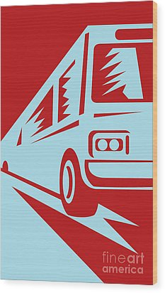 Coach Bus Coming Up Wood Print by Aloysius Patrimonio