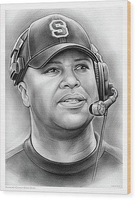 Coach David Shaw Wood Print by Greg Joens