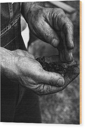 Coal Hands Wood Print by Brian Mollenkopf