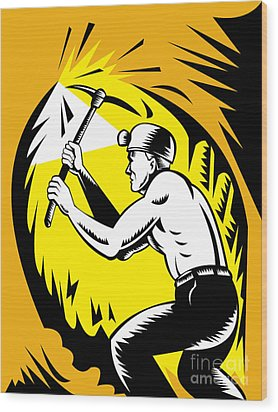 Coal Miner At Work Wood Print by Aloysius Patrimonio