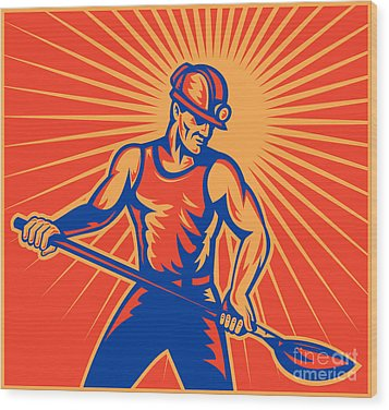 Coal Miner At Work With Shovel Front View Wood Print by Aloysius Patrimonio