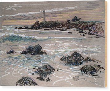 Coast At Pigeon Point Lighthouse Wood Print by Donald Maier