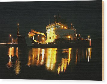Coast Guard Cutter Mackinaw At Night Wood Print by Keith Stokes