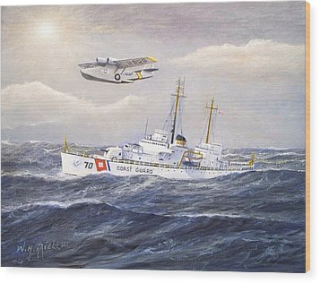 Coast Guard Cutter Pontchartrain And Coast Guard Aircraft  Wood Print by William H RaVell III