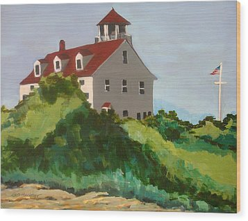 Coast Guard Station Block Island Ri Wood Print
