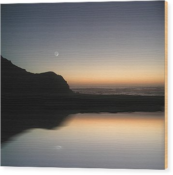 Coastal Moon Wood Print