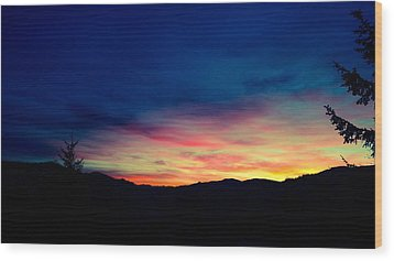 Coastal Mountain Sunrise Ix Wood Print