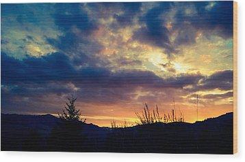 Coastal Mountain Sunrise X Wood Print