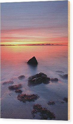 Wood Print featuring the photograph Coastal Sunset Kintyre by Grant Glendinning