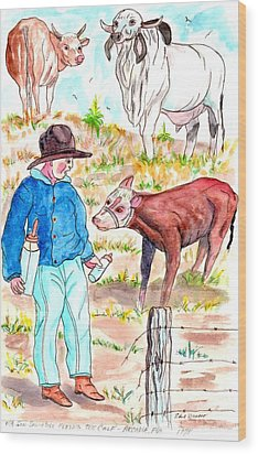 Coaxing The Herd Home Wood Print