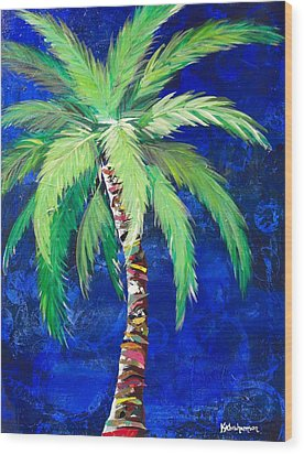 Cobalt Blue Palm II Wood Print by Kristen Abrahamson