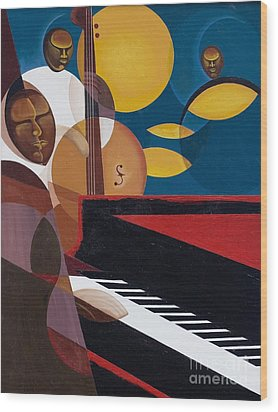 Cobalt Jazz Wood Print by Kaaria Mucherera