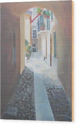 Cobblestone Alley Wood Print