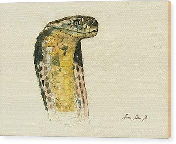 Cobra Snake Poster Wood Print by Juan  Bosco