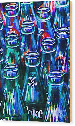 Coca-cola Coke Bottles - Return For Refund - Painterly - Blue Wood Print