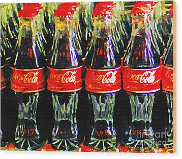 Coca Cola Coke Bottles Wood Print by Wingsdomain Art and Photography