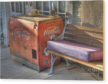 Coca Cola Cooler Back In Time Wood Print by Bob Christopher
