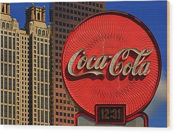Coca Cola Neon Sign Atlanta Wood Print