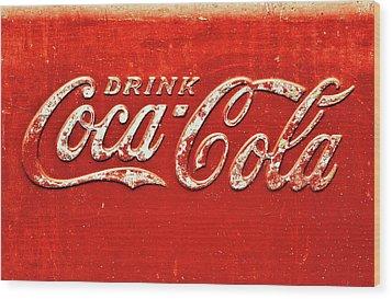 Coca Cola Rustic Wood Print by Stephen Anderson