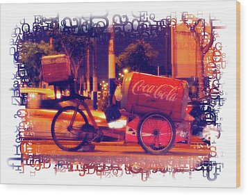 Wood Print featuring the photograph Coca Cola Tricycle Bin - Lima by Mary Machare