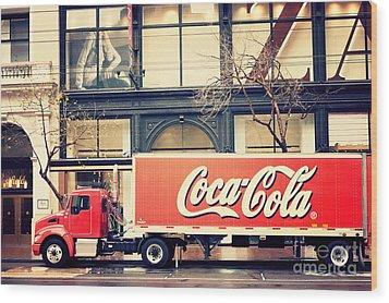 Coca-cola Truck In San Francisco Wood Print by Kim Fearheiley