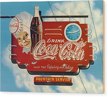 Coca Cola Wood Print by Van Cordle