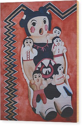 Cochiti Storyteller Wood Print by Eve Riser Roberts
