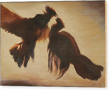 Cock Fight Wood Print by James LeGros