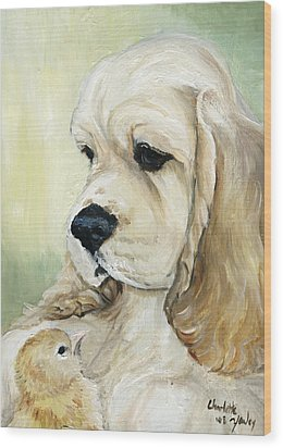 Cocker Spaniel And Chick Wood Print