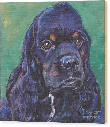 Cocker Spaniel Head Study Wood Print by Lee Ann Shepard