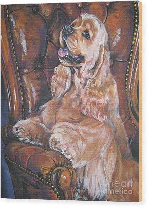 Cocker Spaniel On Chair Wood Print by Lee Ann Shepard